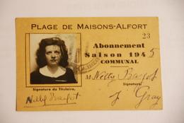 Carte De Plages Maisons Alfort 1945 - Documenti Storici