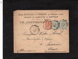 LSC 1901 -Entête  Usine Hydrolique De PONGELOT Par PROVINS (S.& M.)- Verres De LUNETTES Et D'OPTIQUE - Cachets Convoyeur - Marcophilie (Lettres)