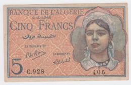 Algeria 5 Francs 2-10- 1944 F+ Banknote Pick 94b 94 B - Algerije