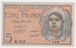 Algeria 5 Francs 2-10- 1944 VF+ Banknote Pick 94b  94 B - Algeria