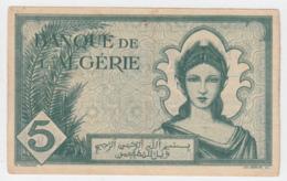 ALGERIA ALGERIE 5 Francs 1942 AVF+ Pick 91 - Algerije