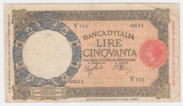 ITALY 50 Lire 1942 F+ Pick 57 - [ 1] …-1946: Königreich
