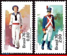 Ref. BR-1490-91 BRAZIL 1976 COSTUMES, BRAZILIAN NAVY, MARINE�S, UNIFORM, SAILOR, MI# 1575-76, MNH 2V Sc# 1490-1491 - Brazilië