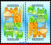 Ref. BR-V2018-12-T BRAZIL 2018 RELATIONSHIP, DIPLOMATIC TIES WITH, LUXEMBOURG, MONUMENTS, TETE-BECHE MNH 2V - Brésil