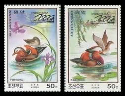 North Korea 2000 Mih. 4377/78 Fauna. Birds. Mandarin Ducks (overprint Indonesia 2000) MNH ** - Korea (Nord-)