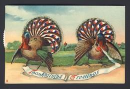 Turkey Turkeys Thanksgiving - Vintage Kaleidoscope - Turn The Wheels To See Different Colors Of Turkey Tails - Dreh- Und Zugkarten