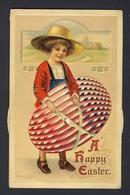 Girl Holding Egg - E. Clapsaddle Artist - Vintage Kaleidoscope - Turn The Wheels Different Color Egg, Wheel Detached - A Systèmes