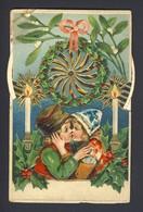 Girl Boy Kissing - Artist Frances Brundage Vintage Kaleidoscope - Turn The Wheels See Different Colors In Holly Wreath - Dreh- Und Zugkarten