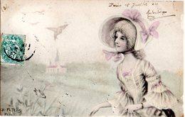 CPA  -  Femme - Chapeau - Clocher - Oiseaux -  écrite - Femmes