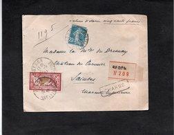 LSC 1924 - Recommandé Et Cachet REDON (Ille Et Vilaine) - Griffe Chargé Et 5 Cachets De Cire Au Dos - YT 121 & YT 140 - 1921-1960: Moderne