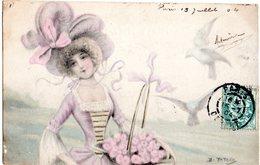 CPA  -  Femme - Chapeau - Corbeille De Fleurs - Oiseaux -  écrite - Women