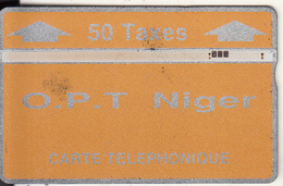 NIGER - Orange & Silver, OPT Niger Logo, Second Issue 50 Taxes, CN : 208B, Tirage 3000, Used - Niger
