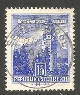 AUSTRIA. 1.80S BUILINGS. MANZTURM HALL IN TYROL. USED SEEFELD POSTMARK. - 1961-70 Usados