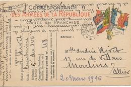 Carte Correspondance Des Armées De La République 20 Mars 1916 Guerre War WW1 - War 1914-18