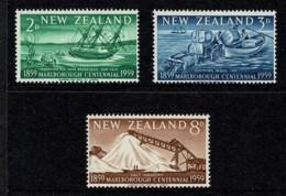 New Zealand 1959 Marlborough Centennial Set Of 3 MNH - Neufs