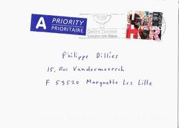 YVERDON LES BAINS SUISSE 2001, LETTRE POUR LA FRANCE, TIMBRE  REFUGIES, FLAMME CENTRE THERMAL, VIGNETTE,  VOIR LES SCANS - Suisse