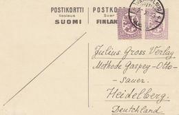 Finnland: 1923: Ganzsache Von Vammelsuu Nach Heidelberg - Finland