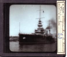 Croiseur Cuirassé Bateau Navire De Guerre  LE Bouvet  A VILLEFRANCE- PLAQUE DE VERRE - Diapositiva Su Vetro