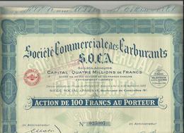 Action N°4 Carburants - Société Commerciale Des Carburants - S.O.C.A. - 15 Décembre 1926 - Pétrole