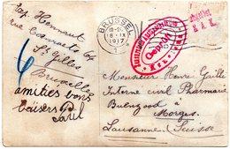 Carte-photo Expédiée De Bruxelles Vers Un Interné Belge En Suisse - Timbre Enlevé Par La Censure De Konstanz - WW I