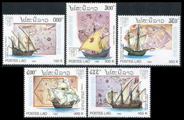 141- Laos 1992  YT 1046-50 ; Mi# 1319-23 **  MNH  GENOVA '92 - Laos