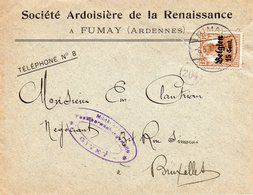 OC15 Sur Lettre De FUMAY Vers Bruxelles - Censure De GIVET - WW I