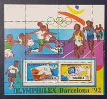 NIGERIA 1992 SHEET BLOC BLOCK - OLYMPHILEX BARCELONA OLYMPIC GAMES BOXING FOOTBALL SOCCER  -  RARE MNH - Nigeria (1961-...)