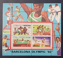 NIGERIA 1992 SHEET BLOC BLOCK - BARCELONA OLYMPIC GAMES  -  RARE MNH - Nigeria (1961-...)