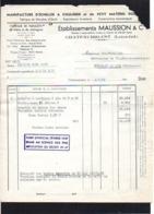 """1949 Facture + Quittance """" Echelles,manches,parquets,etc.Ets Maussion & Cie """" à Chateaubriant 44 - France"""