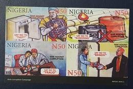 NIGERIA OFFICIAL POSTCARD POST CARD CARTE POSTALE  - SAY NO TO FRAUD THEFT BRIBERY BUNKERING  ANTI CORRUPTION - RARE MNH - Nigeria (1961-...)