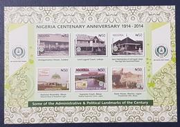 NIGERIA 2014 SHEET BLOC BLOCK BF SS  - CENTENARY ANNIVERSARY - ADMINISTRATIVE POLITICAL LANDMARKS 100 YEARS - RARE MNH - Nigeria (1961-...)