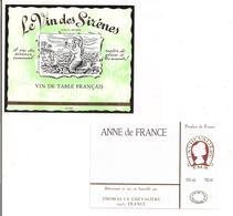 """Etiquettes Vin """" Vin Des Sirènes"""" Bernard Laconfourqueà Castres Et Anne De France Thomas La Chevalièree - - Etiketten"""