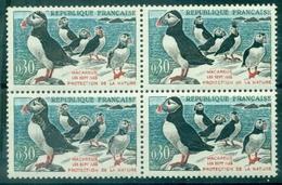 FRANCE N° 1274 Oiseaux Variété Grande Houpe Dans Bloc De 4 - Variétés: 1960-69 Oblitérés