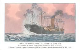 """CARGO """"Simon"""" Torpillé Et Coulé Le 3 Avril 1917, Carte Illustrée.société Navale De L'ouest. - Dampfer"""
