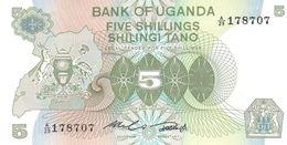 Uganda P.15  5 Shillings 1982 Unc - Uganda