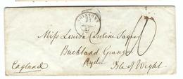 FRANCE Pré-Philatélie:  LSC Du 25 Jui. 1847 De Soissons Pour Ryde (Isle Of Wight) Taxe De 10 Décimes à La Plume - France