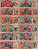 - 12 SOUCHES DE BILLETS DE LOTERIE NATIONALE 1943 - LES GUEULES CASSÉES - - Biglietti Della Lotteria