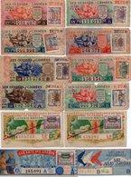 - 12 SOUCHES DE BILLETS DE LOTERIE NATIONALE 1944 - GUEULES CASSÉES - AILES BRISÉES - AMIS DES SPORTS - TABAC - - Biglietti Della Lotteria
