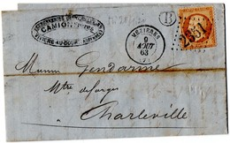 MEZIERES (Ardennes) Pour CHARLEVILLE MEZIERES - GC 2351 - YT 21 - 10c Napoléon Dentelé - Cachet B - Datée Du 9 Aout 1863 - 1849-1876: Période Classique