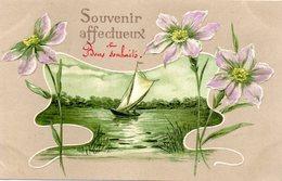 CPA  - Embossée Ou Gaufrée  - Souvenir Affectueux - Voilier  Et Décor De Fleurs    -  écrite - Fancy Cards
