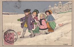 Pauli EBNER - Quatre Enfants Dans La Neige Avec Deux Cochons - Ebner, Pauli