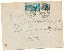 1947 POSTA AEREA RADIO 25 LIRE IN USO ESPRESSO + 10 LIRE DEMOCRATICA - 4. 1944-45 Repubblica Sociale