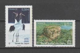 FRANCE / 2013 / Y&T SERVICE N° 157/158 ** : UNESCO (Grue Du Japon & Site De Sigiriya Au Sri Lanka) X 1 - Mint/Hinged