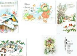 Petite Carte Mignonnette - Lot 24 - Bonne Année Paillettes Oiseau LUGE CHIEN FLLETTE JEM Branche Baie Houx - Neujahr