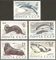 USSR Russia 1971 Animals Fauna Sea Marine Mammals Dolphins Otter Narwhals Walrus Ribbon Seals Stamps MNH Mi 3913-3917 - Dolphins