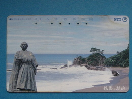 JAPAN PHONECARD NTT 371-096 SEA, BEACH, STATUE - Giappone