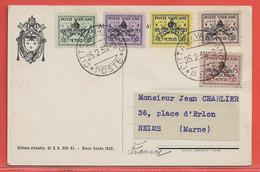 VATICAN TIMBRES SUR CARTE DE 1939 POUR REIMS FRANCE - Vatican