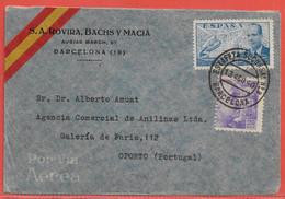 ESPAGNE LETTRE CENSUREE DE 1940 DE BARCELONE POUR PORTO PORTUGAL - 1931-Hoy: 2ª República - ... Juan Carlos I