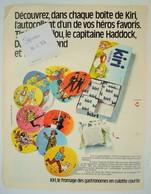 Publicité Fromage Kiri Autocollants Tintin Haddock Tournesol. - Spirou 1973. - Publicités