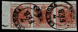 Lomb.Ven., 1850, 3er Streifen , Seltene 15 Cent, Type 1, Und Selt. Stempel !R! , A3024 - Gebraucht